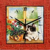 Dekoratívne nástenné hodiny Mačka v okne, červená