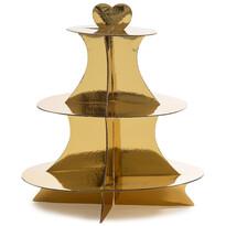 3-poschodový servírovací stojan, zlatá