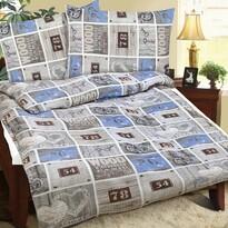 Lenjerie pat 1 pers. Street albastră, creponată, 140 x 200 cm, 70 x 90 cm