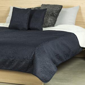 4Home Prehoz na posteľ Doubleface tmavo modrá/krémová, 220 x 240 cm, 2 ks 40 x 40 cm