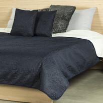 4Home Přehoz na postel Doubleface tmavě modrá/krémová, 240 x 220 cm, 2 ks 40 x 40 cm