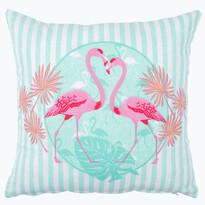 Poszewka na poduszkę Flamingi niebieski, 40 x 40 cm