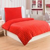 Pościel pluszowa Polka czerwony, 140 x 200 cm, 70 x 90 cm