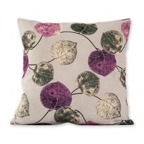 Poszewka na poduszkę Klasic listki fioletowy, 45 x 45 cm
