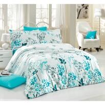 Lenjerie de pat din satin Blue Garden, 140 x 220 cm, 70 x 90 cm