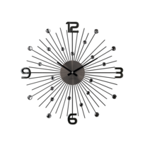 Nástěnné hodiny Lavvu Crystal Sun černá, pr. 49 cm