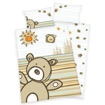 Detské flanelové obliečky do postieľky Lara Bear, 135 x 100 cm, 40 x 60 cm