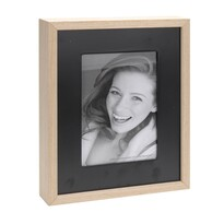 Fotorámček Wood, čierna + béžová