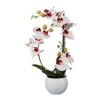 Umelá Orchidea v keramickom kvetináči biela, 42 cm