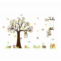 Stickere decorative Copacul din poveste bufnițele  și maimuțele