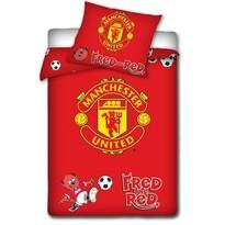 Dětské bavlněné povlečení do postýlky Manchester United červená, 100 x 135 cm, 40 x 60 cm