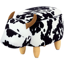 Taboret ze schowkiem Krowa, czarno-biały