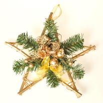 Dekoratívná hviezda poinsettia, zlatá, 30 cm