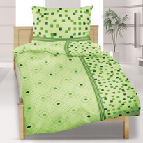 Saténové povlečení Geometrie zelená, 140 x 200 cm, 70 x 90 cm