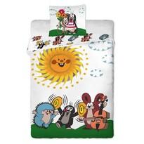 Detské bavlnené obliečky Krtko s kamarátmi, 90 x 130 cm, 40 x 60 cm