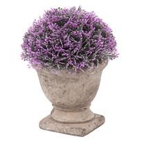 Umelá kvetina v betónovom kvetináči, fialová