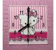 Nástenné hodiny Charmy Kitty s mašľou