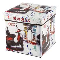 Taburet-cutie de depozitare cu imprimeu motocicletă Paris
