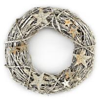 Vianočný ratanový veniec Estrella zlatá, pr. 26 cm