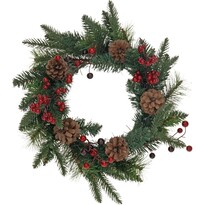 Vianočný veniec so šiškami a cezmínou