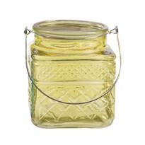 Skleněný svícen Colours žlutá, 13 cm