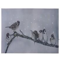 Birds in winter LED vászonkép, 40 x 30 cm