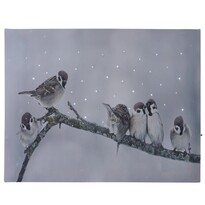 Tablou LED Birds in winter, 40 x 30 cm
