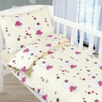 Dziecięca pościel bawełniana do łóżeczka Agata – Kotka, 90 x 135 cm, 45 x 60 cm