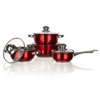 Banquet Maestro Red 8-częściowy zestaw garnków nierdzewnych