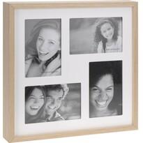 Fotorámček Wood na 4 fotografie, biela + béžová