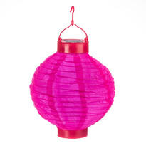 Solární LED lampión růžová, pr. 20 cm
