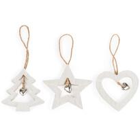 Dřevěná vánoční dekorace Trio bílá, 3 ks