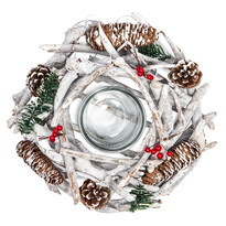 Dekorativní zasněžený věnec se šiškami, pr. 30 cm