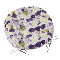 Sedák Gita prošívaný kulatý Provence - Levandule v kytici, 40 cm