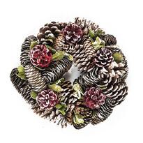 Dekoratívny vianočný veniec so šiškami 24 cm