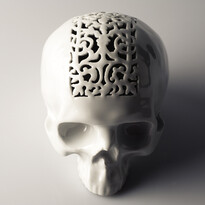 Kasička Skull 2, 15 cm, bílá