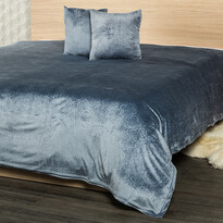 4Home Prehoz na posteľ Salazar sivomodrá, 220 x 240 cm, 2x 40 x 40 cm