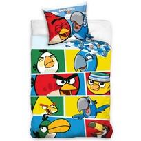 Detské bavlnené obliečky Angry Birds Check blue, 140 x 200 cm, 70 x 80 cm