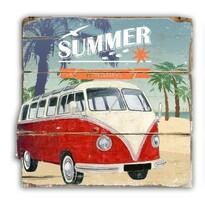 Retro dekorační deska Summer červená, 40 x 42 cm