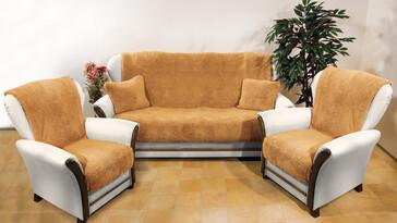 4Home Prehozy na sedaciu súpravu Baránok hnedá, 150 x 200 cm, 2 ks 65 x 150 cm