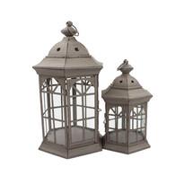 Sada kovových lampášov Accendo hnedá, 2 ks