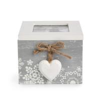 Cutie decorativă Love Winter gri, 10 x 11 cm