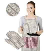 Fartuch z rękawicą kuchenną Wzór cebulowy beżowy