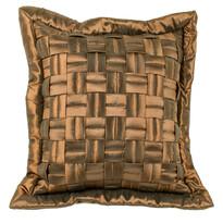 Față de pernă grilă maro, 45 x 45 cm