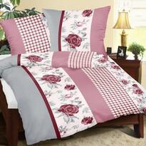 Rózsa kockákkal krepp ágynemű, 140 x 200 cm, 70 x 90 cm