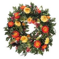 Coroniță artificială Crizanteme diametru 32 cm