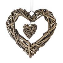 StarDeco Dekoracja do powieszenia Wiklinowe serce brązowy, 25 cm