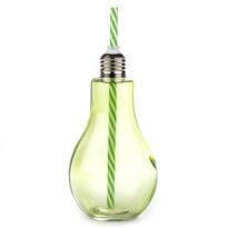 Sklenice s brčkem Žárovka 400 ml, zelená