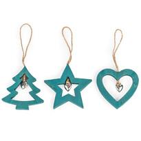 Drevená vianočná dekorácia Trio modrá, 3 ks