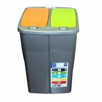 Mazzei Kosz do segregacji odpadów podwójny, 45 l,  klapa zielona i pomarańczowa